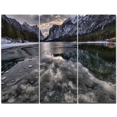 Designart Black Icy Mountain Lake With Snow Contemporary Landscape Canvas Art - 3 Panels