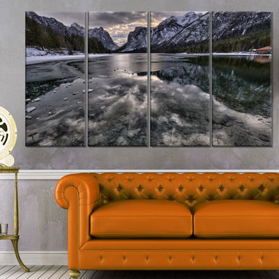 Designart Black Icy Mountain Lake With Snow Contemporary Landscape Canvas Art - 4 Panels