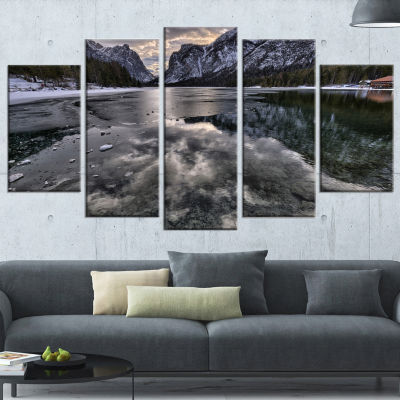 Design Art Black Icy Mountain Lake With Snow Contemporary Landscape Canvas Art - 5 Panels