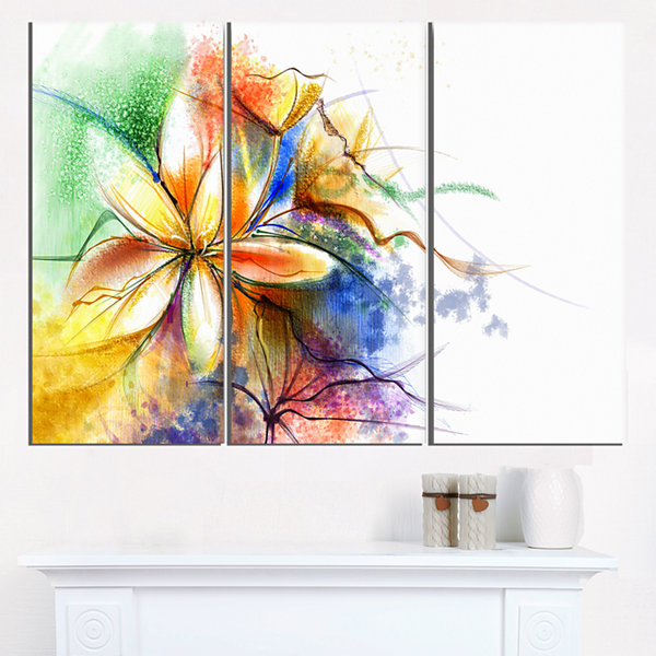 Design Art Abstract Multi Color Flower Fusion Flower Canvas Wall Art - 3 Panels