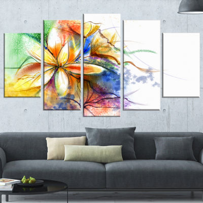 Designart Abstract Multi Color Flower Fusion Flower Canvas Wall Art - 5 Panels
