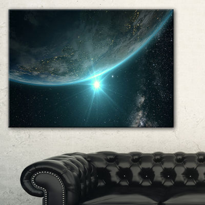 Designart Sunrise In Earth From Space ContemporaryLandscape Canvas Art