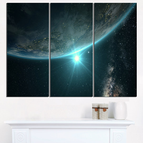 Designart Sunrise In Earth From Space Contemporary Landscape Canvas Art - 3 Panels