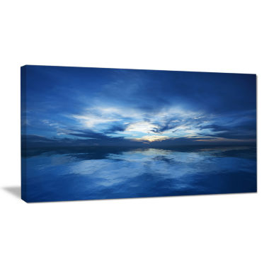 Design Art Blue Waters And Blue Sky Sunset Modern Seascape Canvas Artwork