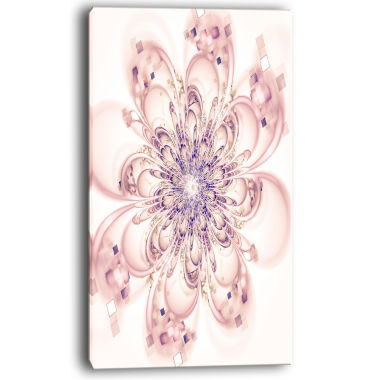 Design Art Full Bloom Fractal Flower In Pink Canvas Wall Art