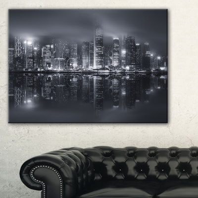 Design Art Hong Kong Black And White Skyline Cityscape Canvas Art Print