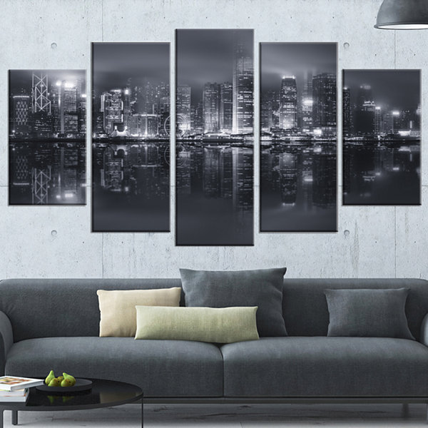 Designart Hong Kong Black And White Skyline Cityscape Canvas Art Print - 5 Panels