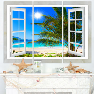 Designart Window Open To Beach With Palm SeashoreCanvas Art - 3 Panels