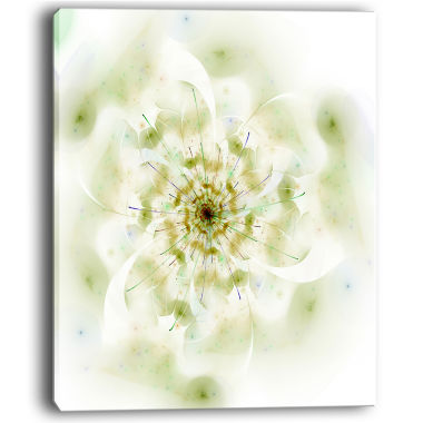 Design Art Full Bloom Fractal Flower In White Canvas Wall Art