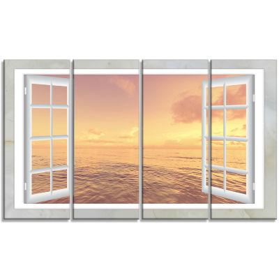 Design Art Open Window To Brown Seashore Canvas Art- 4 Panels