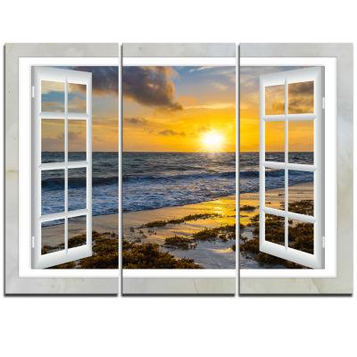 Design Art Open Window To Bright Yellow Sunset Modern Seascape Canvas Artwork - 3 Panels