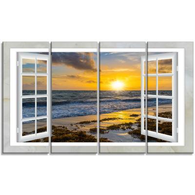 Design Art Open Window To Bright Yellow Sunset Modern Seascape Canvas Artwork - 4 Panels