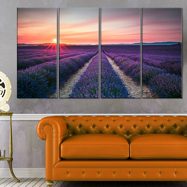 Designart Endless Rows Of Lavender Flowers Modern Landscape Wall Art Canvas - 4 Panels
