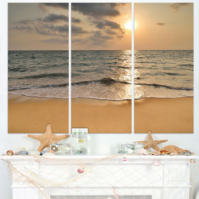 Design Art Dark Tropical Sand Beach At Sunset Modern Seascape Canvas Artwork - 3 Panels