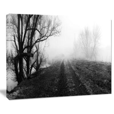 Designart Black And White Misty Landscape PanoramaLandscape Canvas Art Print