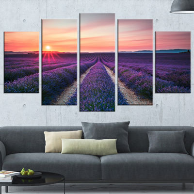 Design Art Endless Rows Of Lavender Flowers Modern Landscape Wall Art Canvas - 5 Panels