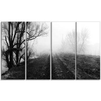 Design Art Black And White Misty Landscape Panorama Landscape Canvas Art Print - 4 Panels