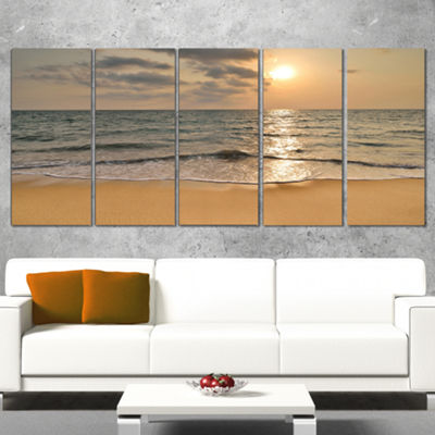 Designart Dark Tropical Sand Beach At Sunset Modern Seascape Canvas Artwork - 5 Panels
