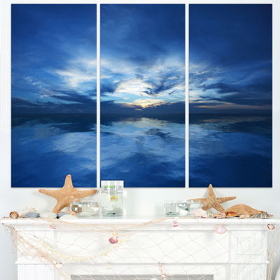 Design Art Blue Waters And Blue Sky Sunset Modern Seascape Canvas Artwork - 3 Panels