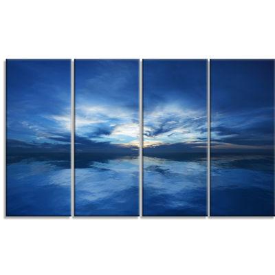 Design Art Blue Waters And Blue Sky Sunset Modern Seascape Canvas Artwork - 4 Panels