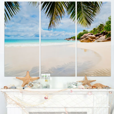 Design Art Summer Beach With Palm Leaves Modern Seascape Canvas Artwork - 3 Panels