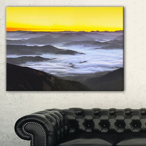 Design Art Yellow Sky And Foggy Mountains Landscape Canvas Art Print