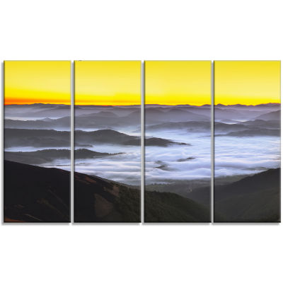 Design Art Yellow Sky And Foggy Mountains Landscape Canvas Art Print - 4 Panels