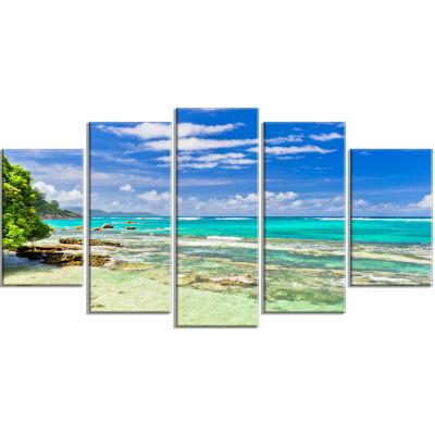 Designart Tranquil Seychelles Tropical Beach Modern Seascape Canvas Artwork - 5 Panels