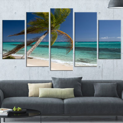 Design Art Palm Bent To Picturesque Seashore Modern Canvas Artwork - 5 Panels