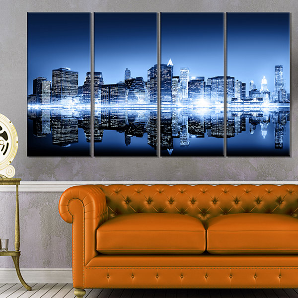 Designart Night New York City Mirrored Cityscape Canvas Art Print - 4 Panels