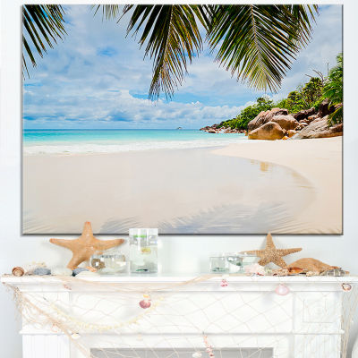 Design Art Summer Beach With Palm Leaves Modern Seascape Canvas Artwork