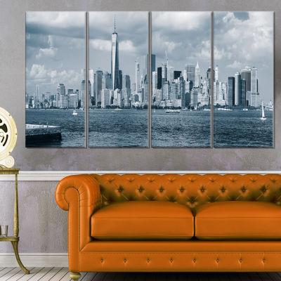 Designart Lower Manhattan Panorama Black White Cityscape Canvas Art Print - 4 Panels