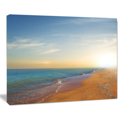 Design Art Quiet Evening Blue Beach Seashore Canvas Print