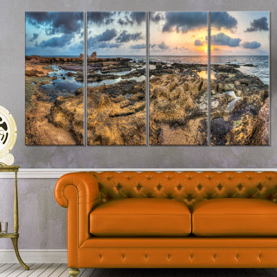 Design Art Rocky African Seashore Panorama Beach Canvas Artwork - 4 Panels