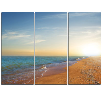 Designart Quiet Evening Blue Beach Seashore Canvas Print - 3 Panels