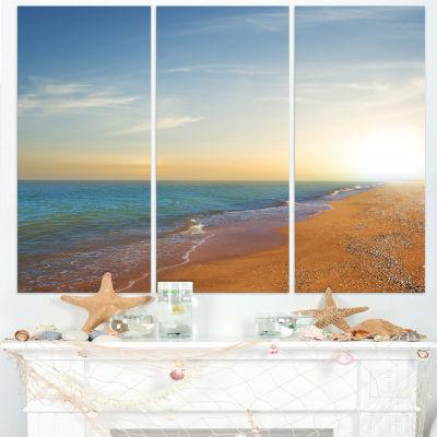 Designart Quiet Evening Blue Beach Seashore CanvasPrint - 3 Panels
