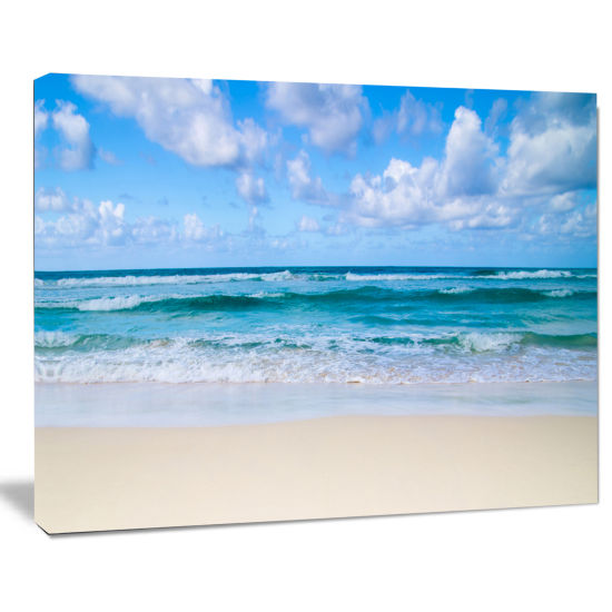 Designart Serene Blue Tropical Beach Seashore Canvas Print