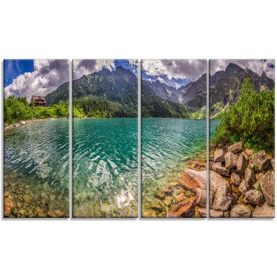 Designart Lake In Tatra Mountains Poland SeashoreCanvas Art - 4 Panels