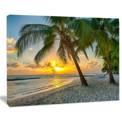 Designart Beach In Caribbean Island Of Barbados Modern Seascape Canvas Artwork