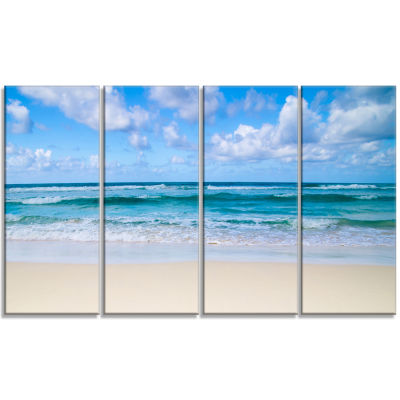 Designart Serene Blue Tropical Beach Seashore Canvas Print - 4 Panels
