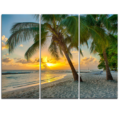 Design Art Beach In Caribbean Island Of Barbados Modern Seascape Canvas Artwork - 3 Panels
