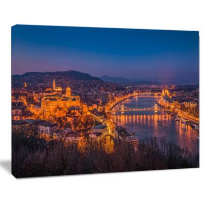Designart Night View Of Budapest City Seashore Canvas Art