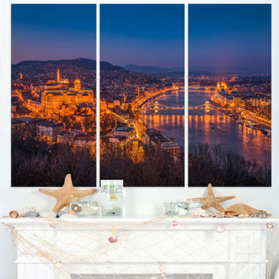 Design Art Night View Of Budapest City Seashore Canvas Art - 3 Panels
