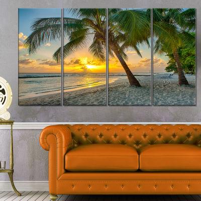 Designart Beach In Caribbean Island Of Barbados Modern Seascape Canvas Artwork - 4 Panels