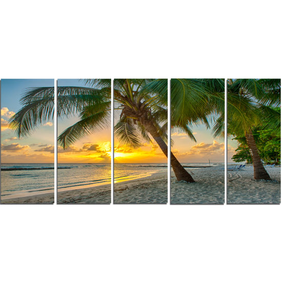 Design Art Beach In Caribbean Island Of Barbados Modern Seascape Canvas Artwork - 5 Panels