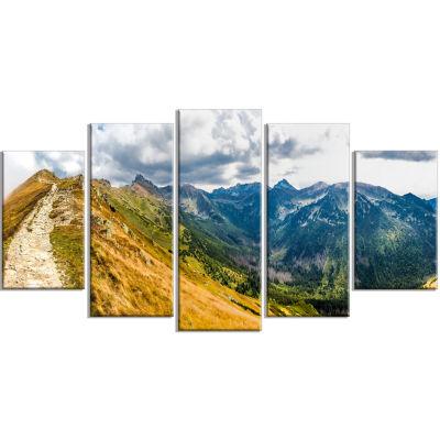 Design Art Low Tatras Hike Panorama Landscape Canvas Art Print - 5 Panels