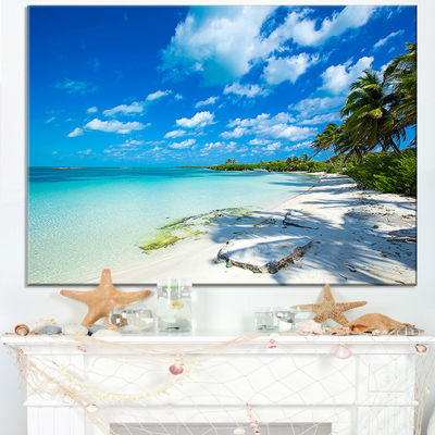 Designart Tropical Beach With Palm Shadows Seashore Canvas Print