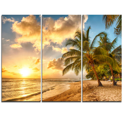 Design Art Gorgeous Beach Of Island Barbados Modern Seascape Canvas Artwork - 3 Panels