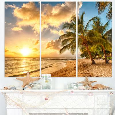 Designart Gorgeous Beach Of Island Barbados ModernSeascape Canvas Artwork - 3 Panels