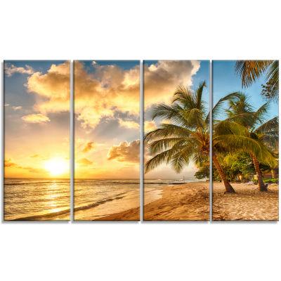 Design Art Gorgeous Beach Of Island Barbados Modern Seascape Canvas Artwork - 4 Panels
